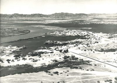 Black and white aerial photo of Fisher's Landing circa 1950s