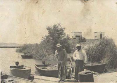 Fishermen at boat dock