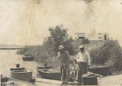 Fishermen at boat dock