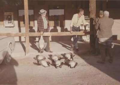 Goose hunters in front of Fishers General Store