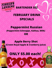 Monthly drink specials at the Rio Loco Bar
