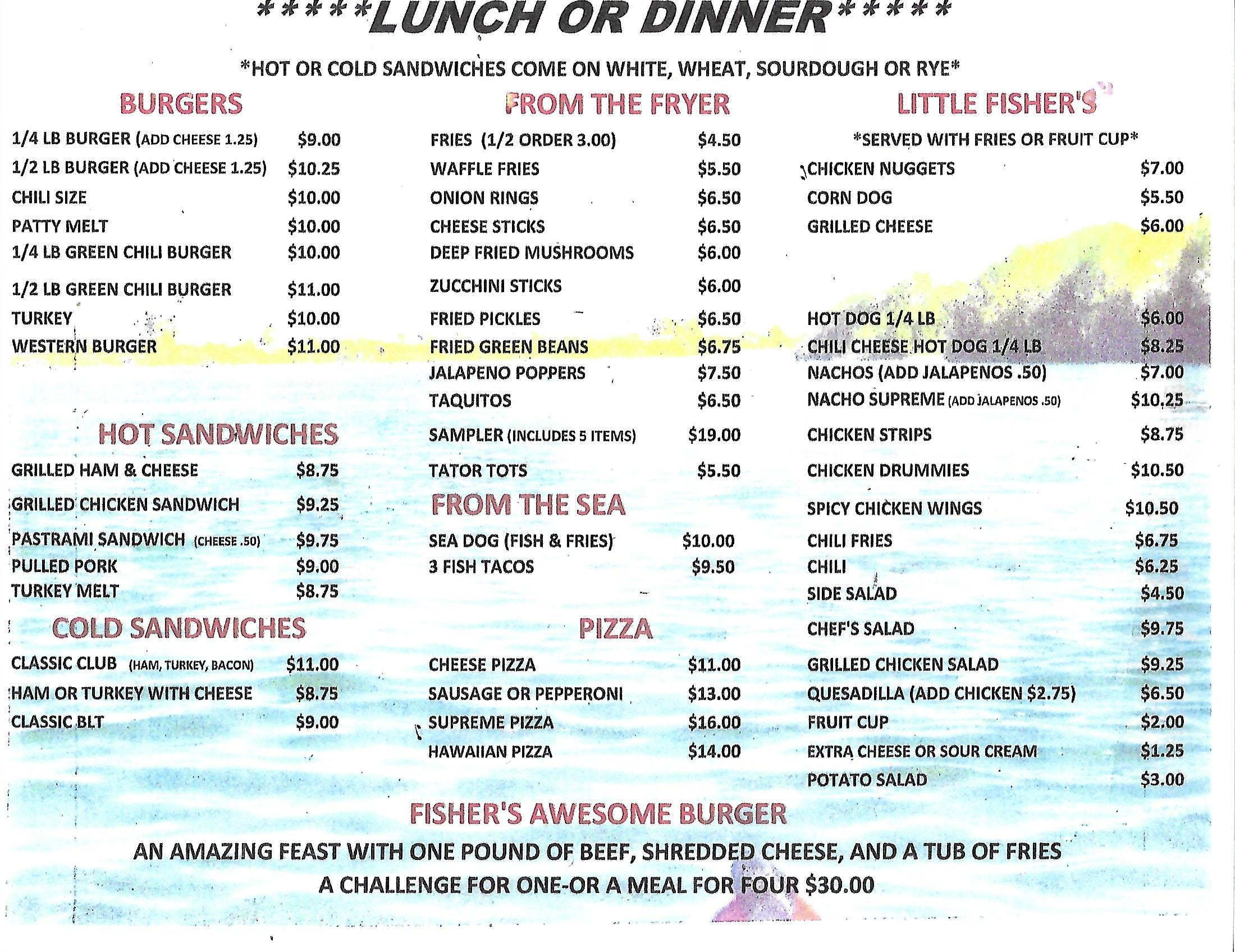 Rio Loco Grill Lunch and Dinner Menu
